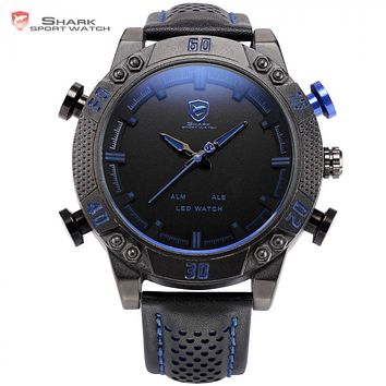 Kitefin Shark Sport Watch Blue LED Back Light Auto Date Display Leather Strap Quartz Digital Outdoor Men Military Watches /SH265