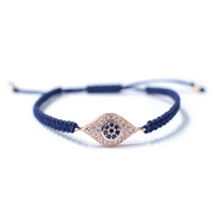 Blue cord bracelets with gold plated eye pendant fashion accessory