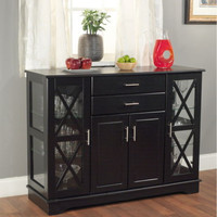 Classic Kitchen Buffet 2 Drawers And Adjustable Shelves Black Finish Home Decor