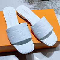 LV Louis Vuitton solid color embossed monogram sandals slippers Shoes
