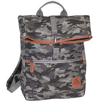 "Buxton Men""s Expedition II Huntington Gear Fold-Over Canvas Backpack Gray Camo"