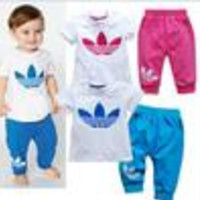 New 2014 brand  summer dress short sleeve clothes pants suits girls clothing sets boy suit kids clothes sets drop shipping - Default
