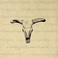 Printable Graphic Western Cow Skull Download Bull Horns Image Digital Antique Clip Art for Transfers etc HQ 300dpi No.552