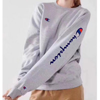 Champion 2018 new big C embroidery letter head round neck sweater F0930-1 grey