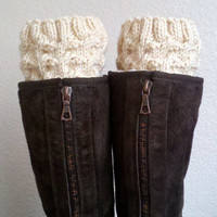 Short Leg warmers / Boot socks / Boot cuffs / Boot tops  for girls, teens, women - BEIGE - (more colors available)
