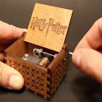 Antique Carved Wooden Hand Crank Harry Potter Music Box