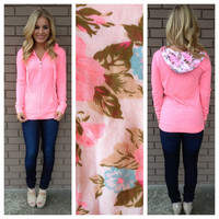 Neon Pink With Floral Hoodie