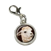 Graphics and More White Llama Antiqued Bracelet Pendant Zipper Pull Charm with Lobster Clasp