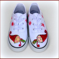 Christmas Shoes, Kids Christmas Sneakers, Painted Canvas Shoes, Kids Holiday Shoes, Elf Shoes, Xmas Gift, Childrens Shoes, Kids Shoes