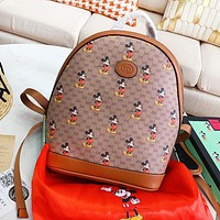 GUCCI x Disney Fashion Women Men Casual Leather Daypack School Bag Backpack Shoulder Bag