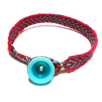 Bohemian hippie red blue brown loom woven friendship bracelets - vintage turquoise blue button mixed media free people inspired