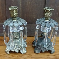 Vintage Brass and Glass Hollywood Regency Candle Holders With Glass Prisms Loevsky Style