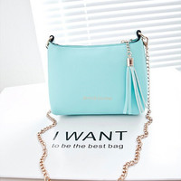 2015 Fashion Tassel Mini Small Shell bags Candy Chain Women's Leather Messenger bags Cross body Crossbody Shoulder bag Handbags [10198322887]