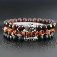 Beasivor Dark Red Tiger eyes Stones Matte Onyx Antique silver Buddha Bracelet Men Beaded Wrap Bracelets Multi 3 layers Wristband