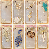 Rhinestone Case Cover For Apple Iphone 5 5S 4 4S se Iphone 6 6S Plus 7 7Plus ,Crystal Diamond Hard Back Mobile phone Case Cover