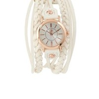 White Braided Faux Leather Cuff Watch by Charlotte Russe
