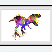Dinosaur watercolor print, dinosaur poster, colorful, jurassic illustration, silhouette, wall decoration, abstract, nursery, gift, wall, W87