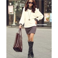 Women Light Coffee  Cotton Side Buckle Long Sleeve One Size Lady Dress @H4126lc