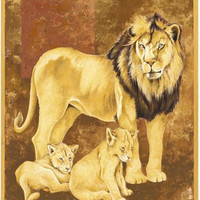 Lion and Two Cubs Art Print