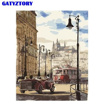 GATYZTORY Frame Street Landscape DIY Painting By Number Modern Wall Art Canvas Painting Acrylic Paint By Numbers For Home Decors