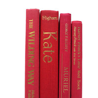 Red and Gold 4 Vintage Book Collection / Book Decor / Interior Decorating / Instant Library / Decorative Books