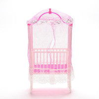 1 Pcs Dollhouse Furniture Lovely Crib Nosquito Bar Girls Play House Toys LS