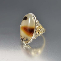 Antique Victorian Gold Silver Denditric Moss Agate Ring