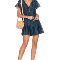 Tularosa Carson Dress in Navy & Gold | REVOLVE