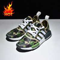 Best Online Sale Bape x Adidas NMD Green Camo Army Bathing Ape Nomad Runner Boost Sport Running Shoes - BA7326