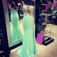 Fashion One Shoulder Meramid Prom Dresses Long Formal Gown Dress Mint Green Spandex Crystal Beaded Court Train Custom Made