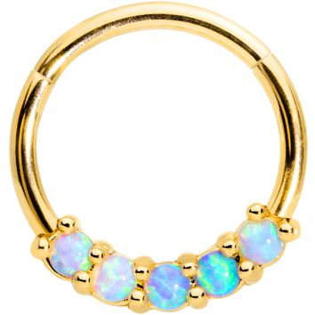 "16 Gauge 3/8"" Five Synthetic Opal Gold Tone Hinged Segment Ring"