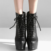 Black Heel Ankle Rivet Lace-Up Platform Stiletto Booties
