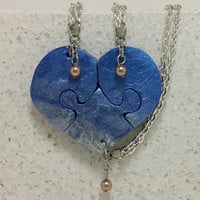 Best Friend Necklaces Set of 3 Necklaces Blue and Pearl Polymer Clay with Swarovski Pearls
