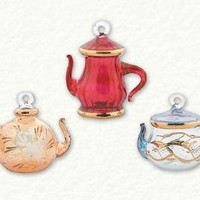 Set of 3 Handcrafted Egyptian Glass Teapot Ornaments