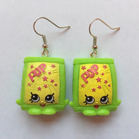 Shopkins Foodie Earrings - PopRock (green) - made with repurposed toys