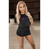 Champion Summer Popular Women Casual Print Short Sleeve Sport Gym Sweatpants Set Two-Piece Sportswear Black I13582-1