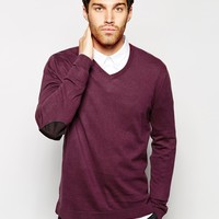 ASOS V Neck Jumper With Patch in Cotton at asos.com