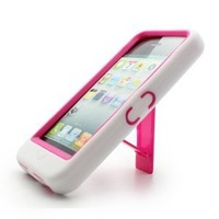 Aimo Wireless IPH5PCMX016S Guerilla Armor Hybrid Case with Kickstand for iPhone 5 - Retail Packaging - White/Hot Pink