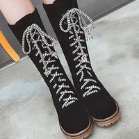 New Black Round Toe Flat Fashion Knee-High Boots