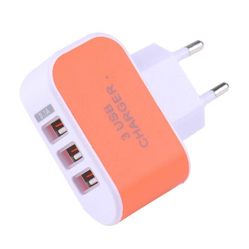 5V 3A EU Triple USB Port Home Travel AC Wall Power Charger Adapter Candy Color USB Charger for Mobile Phone Tablet