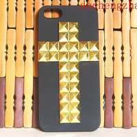 Studded Black & Gold Cross iPhone Case
