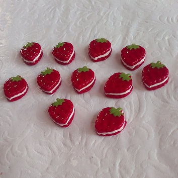 Lot of 10 Red Strawberry Cookie Biscuit Cream Sandwich Cabochons for DIY Projects, Phonecase Deco, Decoden, Hairbow Centers, Scrapbooking