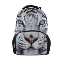 Cool Backpack school FORUDESIGNS 3D Animal White Tiger Head Backpack for Men Unique Backbag Children Teenager Boys Tourism Backpack Cool Tiger Face AT_52_3