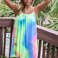 Sunburst Neon Tye Dye Tank Dress