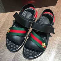 GUCCI New Fashion Red And Green Bee Sandals Shoes Black