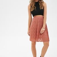 FOREVER 21 Accordion-Pleated Lace Skirt Mauve