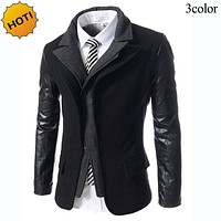 New 2017 Autumn winter thicken warm fake two piece Zipper cardigan Woolen Men Patchwork PU leather Sleeve Casual Suit Trench