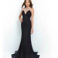 Black Sequin Halter Netted Low Back Gown