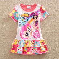 2016 christmas my little pony baby Girl Clothes short Sleeve Girls Dress Kids pretty Dresses A-line children clothing SD668