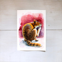 Ginger cat scratching Digital Download Art printable, brown and purple animal art, watercolor painting for cat lovers, art craft supplies